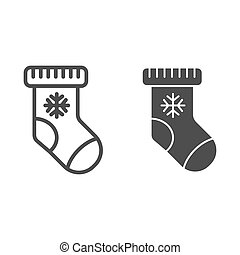Christmas stocking line and glyph icon. Sock with snowflake vector illustration isolated on white. Gift outline style design, designed for web and app. Eps 10.