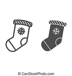 Christmas stocking line and glyph icon. Stuffer sock vector illustration isolated on white. Christmas gift outline style design, designed for web and app. Eps 10.