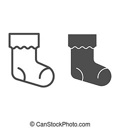 Christmas stocking line and glyph icon. Xmas sock vector illustration isolated on white. Stuffer sock outline style design, designed for web and app. Eps 10.