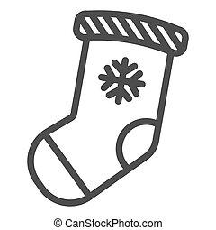 Christmas stocking line icon. Stuffer sock vector illustration isolated on white. Christmas gift outline style design, designed for web and app. Eps 10.