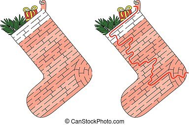 Christmas stocking maze for kids with a solution