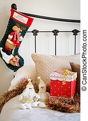 Christmas stocking on bed