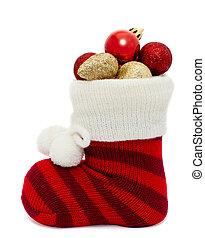 christmas stocking over white
