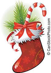 Christmas Stocking over white. EPS 8, AI, JPEG