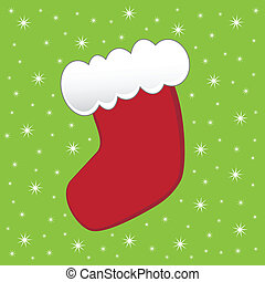 Christmas Stocking - Red and green merry christmas stocking