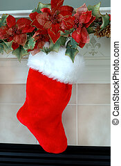 Christmas Stocking - Red and white fur christmas stocking hangs on the mantle above the fireplace on Christmas Eve.