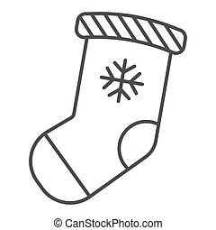 Christmas stocking thin line icon. Stuffer sock vector illustration isolated on white. Christmas gift outline style design, designed for web and app. Eps 10.