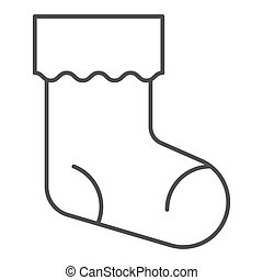 Christmas stocking thin line icon. Xmas sock vector illustration isolated on white. Stuffer sock outline style design, designed for web and app. Eps 10.