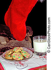 Christmas stocking with cookies