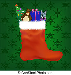 Christmas stocking with gifts and toys