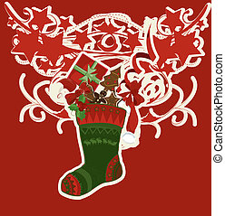 Christmas stocking with many graphic elements