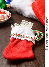 Christmas stocking with money