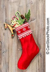 Christmas stocking with nostalgic vintage toys decoration