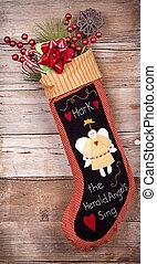 Christmas stocking with presents on wood - Handmade...