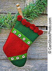 Christmas stocking with retro clothespin