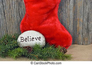 Christmas stocking with rock