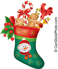 Christmas stocking with sweets. Contains transparent...