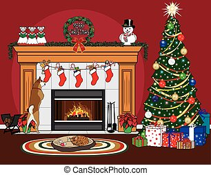 A Christmas scene with a Christmas tree, stockings, a fireplace, a dog jumping up to check out its stocking, and a cat sleeping in the dog's bed on a mat in front of the roaring fire, with a red background.