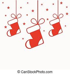 Christmas stockings hanging ornaments illustration
