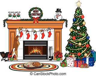 A Christmas scene with a Christmas tree, stockings with presents hanging on a fireplace, a dog checking out its stocking, and a cat sleeping in the dog's bed on a mat in front of the roaring fire.