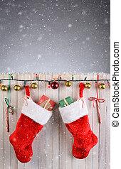 Christmas Stockings Rustic Fence - Two Christmas Stocking...