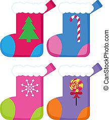 Christmas Stockings image isolated on a white background.