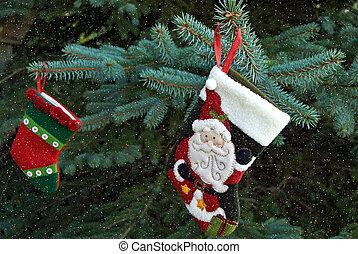 Christmas stockings with snowflakes