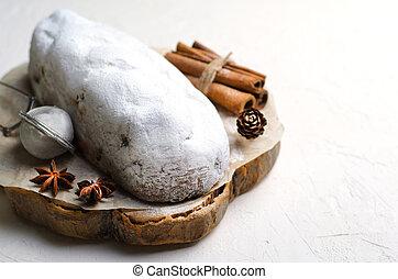 Christmas Stollen, Traditional Fruit Loaf Cake, Festive Dessert for Winter Holidays