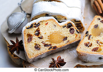 Christmas Stollen, Traditional Fruit Loaf Cake, Festive Dessert for Winter Holidays