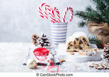 Christmas stollen. Traditional German festive dessert. Copy space