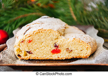 Christmas Stollen. Traditional German Festive Dessert.