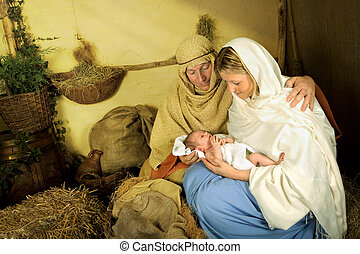 Reenactment of the christmas nativity scene with real people