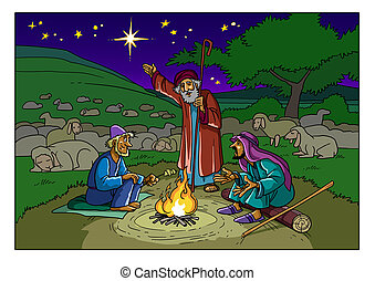 Christmas story. Shepherds and a Star.