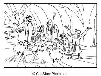 Christmas Story. Shepherds with Joseph, Mary and baby Jesus