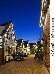 Christmas Street At Night, Germany - An old street with...