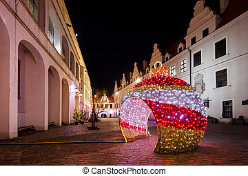 Christmas street decorations in the night city