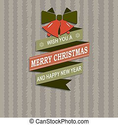 Christmas striped card with silhouette of ribbon, bow and two bells.