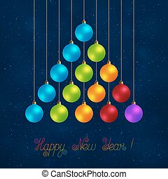 Christmas Striped Tree Made of Realistic Baubles of Different Colors on Dark Blue Background.