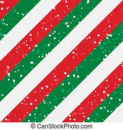 Christmas stripes seamless background. Diagonal red green peppermint with snow