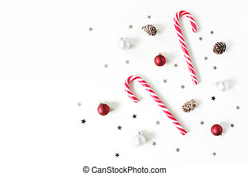 Christmas styled composition. Christmas red and white balls...