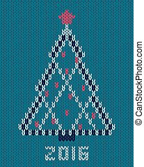 Christmas stylized tree with red star and balls