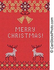 Christmas sweater 27 - Vector Illustration of Knitted...
