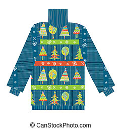 Christmas sweater knitted pattern with trees and snow funny...