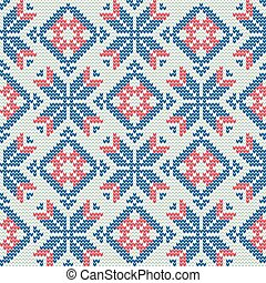 Christmas Sweater Pattern9 - Vector Illustration of Knitted...