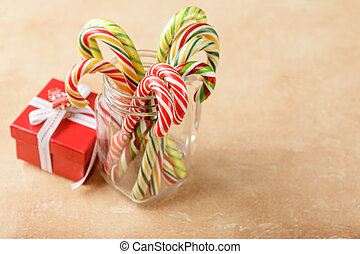 Christmas sweet decoration - Christmas red gift boxes and...