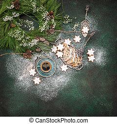 Christmas sweet food cookies coffee decoration vintage