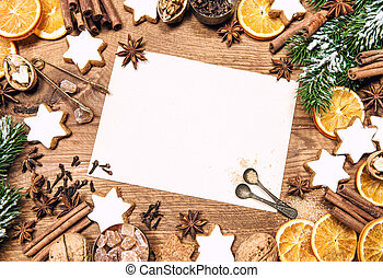 Christmas sweet food ingredients holidays decorations paper