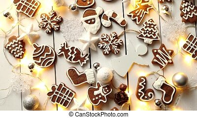 Christmas sweets composition. Gingerbread cookies with xmas...