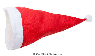 empty red santa hat isolated on white background