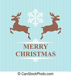 Christmas symbol reindeers and snowflakes on blue background